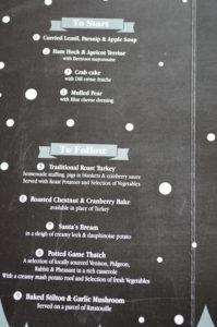 Christmas menu at the Volunteer