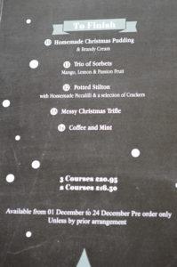 Christmas menu at the Volunteer 2