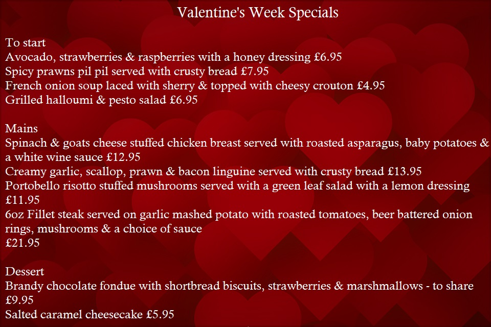 Specials board with hearts